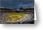 Stadium Greeting Cards - Dark Clouds over Yankee Stadium  Greeting Card by Shawn Everhart