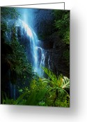 Green Vines Greeting Cards - Dark Falls Greeting Card by Lori Seaman