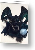 Wings Sculpture Greeting Cards - Dark Green Gargoyle Greeting Card by Demian Legg
