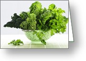 Greens Greeting Cards - Dark green leafy vegetables in colander Greeting Card by Elena Elisseeva