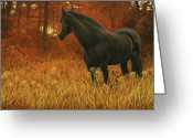 Equines Painting Greeting Cards - Dark Horse Greeting Card by Liz Mitten Ryan