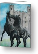 Horses Pastels Greeting Cards - Dark Horses Greeting Card by Ryan Seate