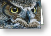 Owl Drawings Greeting Cards - Dark Owl Greeting Card by Carla Kurt