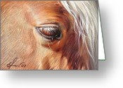 Horse Greeting Cards - Dark Palomino Greeting Card by Elena Kolotusha