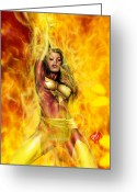 Grey Drawings Greeting Cards - Dark Phoenix Greeting Card by Pete Tapang