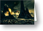 System Greeting Cards - Dark Planet Greeting Card by Bob Orsillo