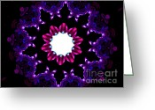 Radial Design Greeting Cards - Dark Purple Kaleidoscope Mandala  Greeting Card by TigerLynx Art