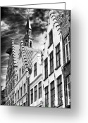 Medieval Architecture Greeting Cards - Dark Sky in Bruges Greeting Card by John Rizzuto