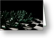 Chess Pieces Greeting Cards - Dark Squares Greeting Card by Lon Casler Bixby