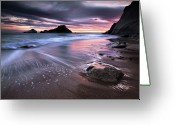 Surf Silhouette Greeting Cards - Dark Sunrise On Hidden Bay Greeting Card by Danyssphoto