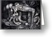 Fantastic Realism Greeting Cards - Dark Surprise Greeting Card by Otto Rapp