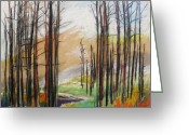 Woods Pastels Greeting Cards - Dark trees Before Light Greeting Card by John  Williams