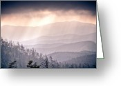 Beautiful Image Greeting Cards - Dark Vista Over The Smokys Greeting Card by Pixel Perfect by Michael Moore