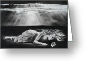 Dark Drawings Greeting Cards - Darkness Falls Upon Me Greeting Card by Carla Carson