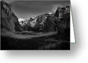 Spires Greeting Cards - Darkness on Yosemite Valley Greeting Card by Troy Montemayor