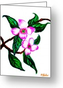 Wall Pastels Greeting Cards - Darling Dogwood llll Greeting Card by Marsha Heiken