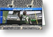 Ny Jets Greeting Cards - Darrelle Revis - NY Jets Greeting Card by Paul Ward