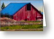 Landing Painting Greeting Cards - Darst Barn on West Beach Road Greeting Card by Stacey Neumiller