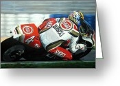 Motogp Greeting Cards - Daryl Beattie - Suzuki MotoGP Greeting Card by Jeff Taylor