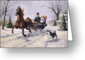 Sleigh Greeting Cards - Dashing Through the Snow  II Greeting Card by Jeanne Newton Schoborg