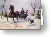 Horse Greeting Cards Greeting Cards - Dashing Through The Snow Greeting Card by Jeanne Newton Schoborg