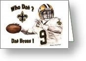Graphite Mixed Media Greeting Cards - Dat Brees Greeting Card by Mamie Greenfield