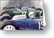 Hill Painting Greeting Cards - Datch GP 1962 Lola BRM Lotus Greeting Card by Yuriy  Shevchuk