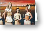 Snake Painting Greeting Cards - Daughters of Eve Greeting Card by Jacque Hudson-Roate