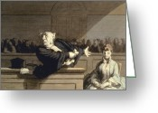 Trial Greeting Cards - Daumier: Advocate, 1860 Greeting Card by Granger