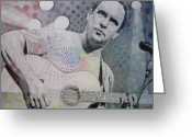 Grey Drawings Greeting Cards - Dave Matthews All the Colors Mix Together Greeting Card by Joshua Morton