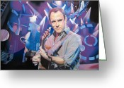 Musician Drawings Greeting Cards - Dave Matthews and 2007 Lights Greeting Card by Joshua Morton