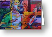Singer Painting Greeting Cards - Dave Matthews Bartender Greeting Card by Joshua Morton