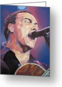 Musician Drawings Greeting Cards - Dave Matthews Colorful Full Band Series Greeting Card by Joshua Morton