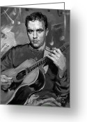 Acoustic Guitar Greeting Cards - Dave Matthews Greeting Card by Ylli Haruni
