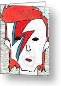 Singer Songwriter Greeting Cards - David Bowie Greeting Card by Jera Sky