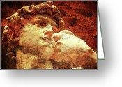 Digital Prints Greeting Cards - DAVID by Michelangelo Greeting Card by Juan Jose Espinoza