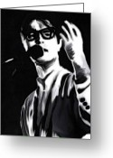 Rock Musicians Greeting Cards - David Byrne Greeting Card by Jeff DOttavio