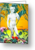 Nudes Males Greeting Cards - David Greeting Card by Kurt Van Wagner