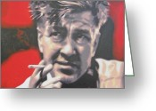 Wrapped In Plastic Greeting Cards - David Lynch Greeting Card by Luis Ludzska