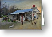 Chickens Greeting Cards - David Paces Gro. Greeting Card by Doug Strickland