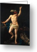 Sandals Greeting Cards - David Victorious Greeting Card by Jean Jacques II Lagrenee