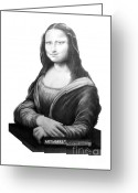 Celebrities Drawings Greeting Cards - DaVinci-Mona Lisa-Murphy Elliott Greeting Card by Murphy Elliott