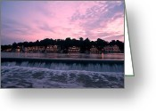Sculling Greeting Cards - Dawn at Boathouse Row Greeting Card by Bill Cannon