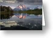 Grand Tetons National Park Greeting Cards - Dawn at Oxbow Bend Greeting Card by Greg Nyquist