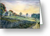 Dry Stone Wall Greeting Cards - Dawn Breaking in Alston Greeting Card by Glenn Marshall