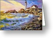 Maine Painting Greeting Cards - Dawn Breaks Cape Elizabeth plein air Greeting Card by David Lloyd Glover