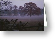 Autumn Scenes Greeting Cards - Dawn Mist Hangs Over A Field Bordered Greeting Card by Stephen St. John