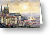 Buildings Painting Greeting Cards - Dawn of Prague Greeting Card by Yuriy  Shevchuk