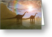 Wondrous Digital Art Greeting Cards - Dawn of the Dinosaurs Greeting Card by Corey Ford
