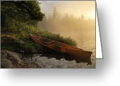 Morning Mist Images Greeting Cards - Dawn on Boot Lake Greeting Card by Larry Ricker